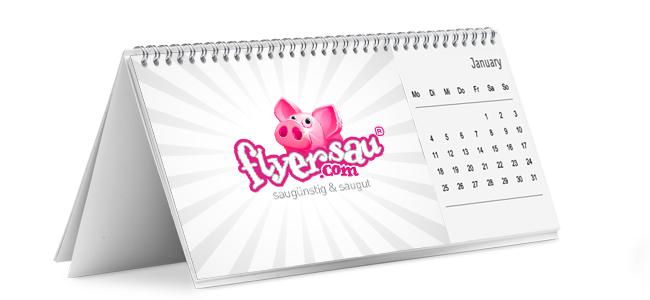 flyersau.com - Tischkalender mit Firmenlogo als Geschenk drucken