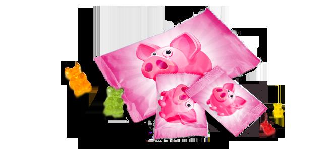 Fruchtgummi Gummibaeren Werbegeschenk Werbeartikel drucken billig guenstig in unserer Druckerei