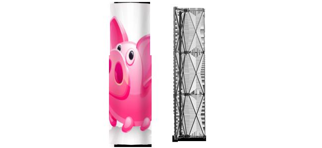 flyersau.com - Saeule bedruckt guenstig Messe. Schnell drucken Druckereipop-up-tower-thun-bern