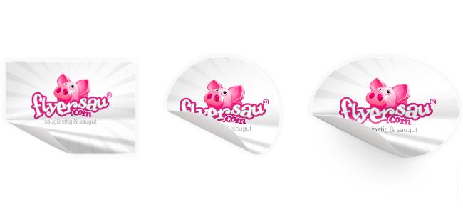 flyersau.com - Aufkleber Kleber mit Logo guenstig schenll und billig drucken in Thun Bern oder Interlaken
